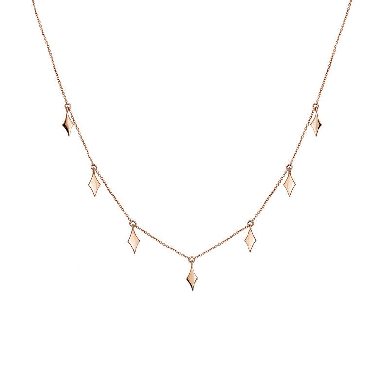 Rose gold rhombuses necklace, J03868-03, hi-res