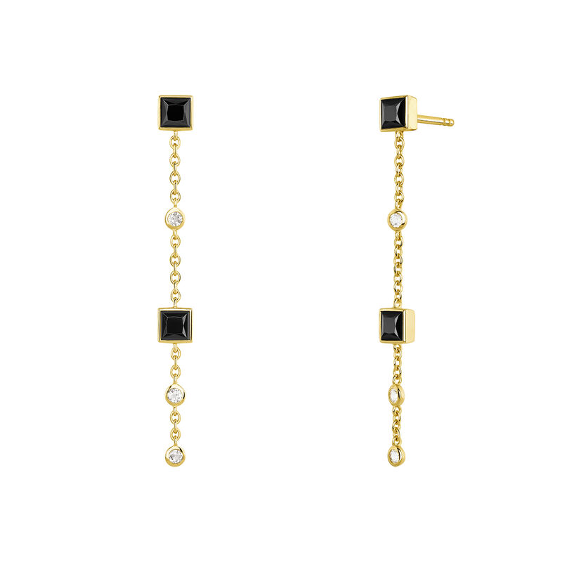 Long gold plated earrings with spinels  and topaz, J04090-02-BSN-WT, hi-res