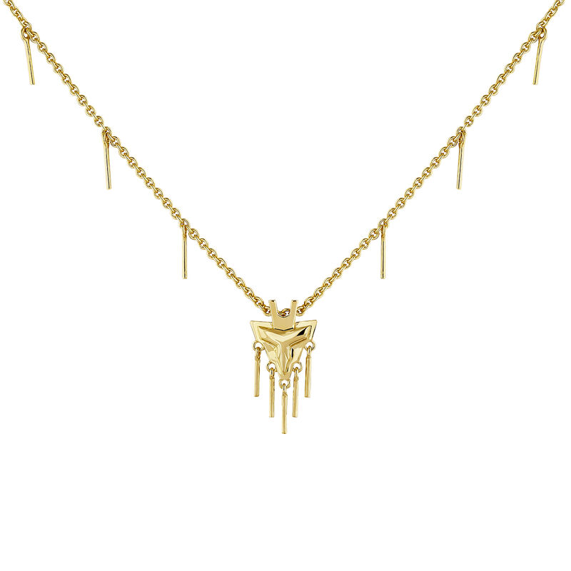 Gold plated fantasy motifs necklace, J04554-02, hi-res
