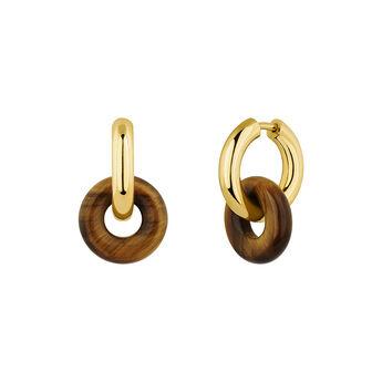 Gold plated silver tiger's eye earrings, J04753-02-TE, hi-res