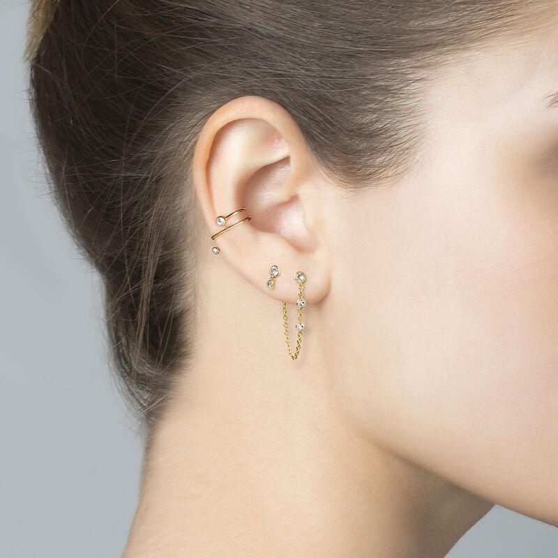 Boucles d'oreilles chaîne topazes argent plaqué or, J03672-02-WT, hi-res