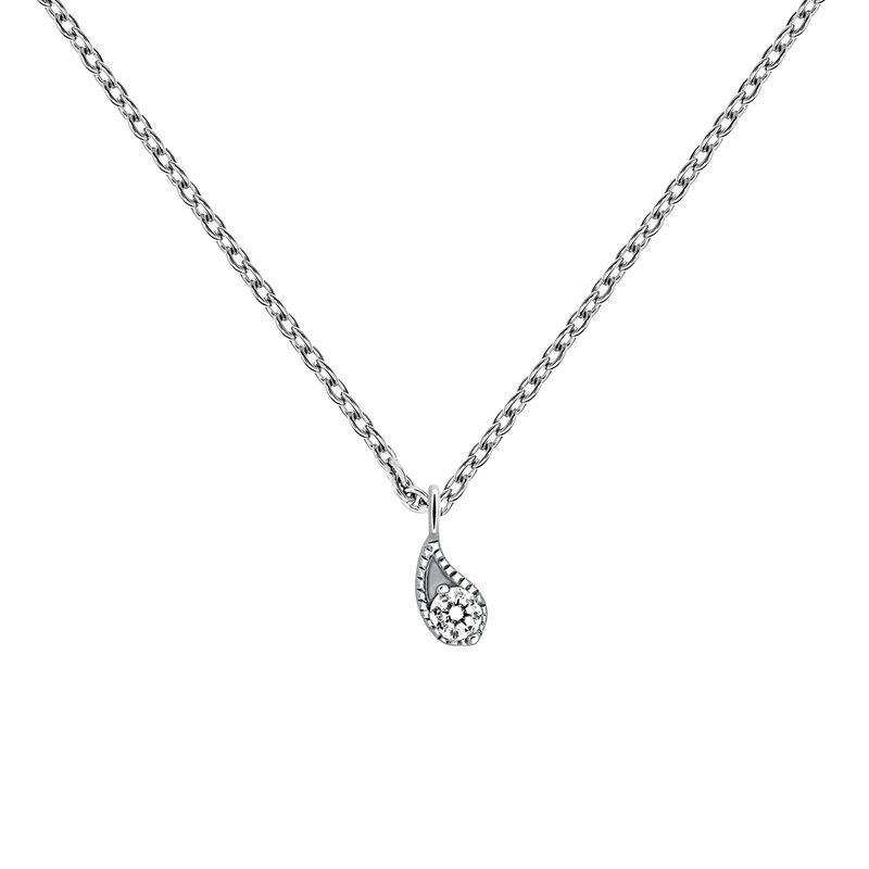 Collier diamant or blanc 0,061 ct, J03397-01, hi-res
