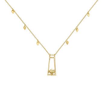 Gold plated lotus flower necklace, J04718-02, hi-res