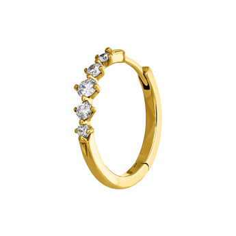 Yellow gold five-diamond hoop earring 0.071 ct, J04008-02-H, hi-res
