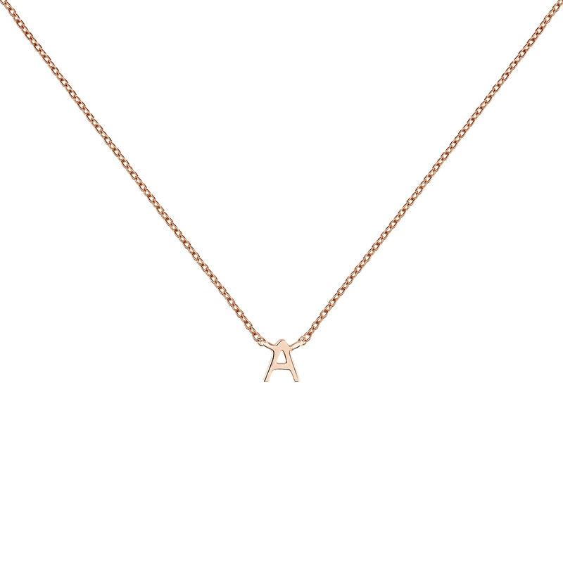 Rose gold Initial A necklace, J04382-03-A, hi-res