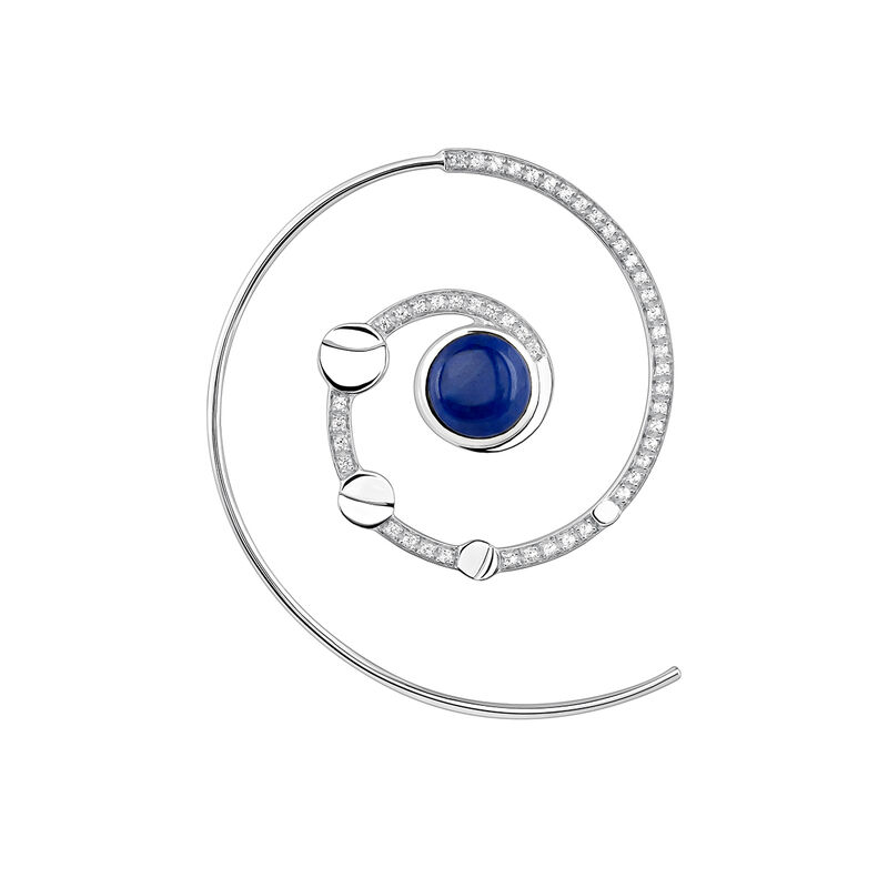 Right silver spiral moon earring, J03993-01-LPS-WT-R, hi-res