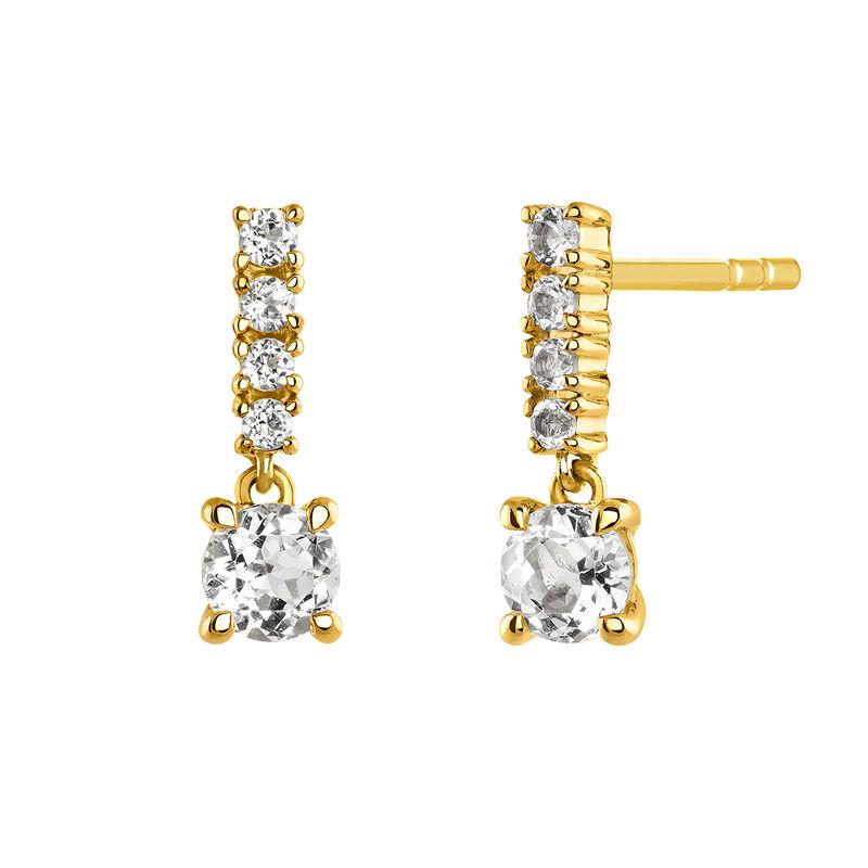 Pendientes largos con piedras plata recubierta oro, J03832-02-WT, hi-res