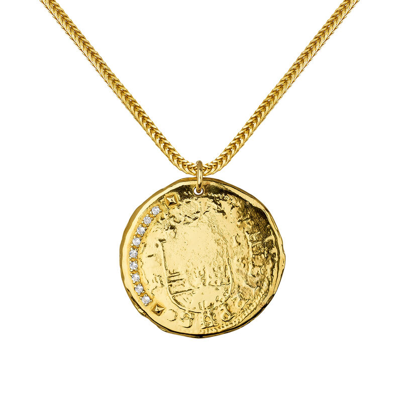 Gold plated coin pendant, J03590-02-WT, hi-res