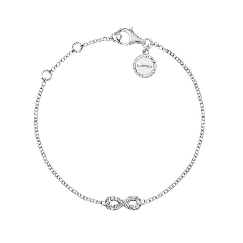 White gold infinity bracelet diamonds 0.05 ct, J03022-01, hi-res