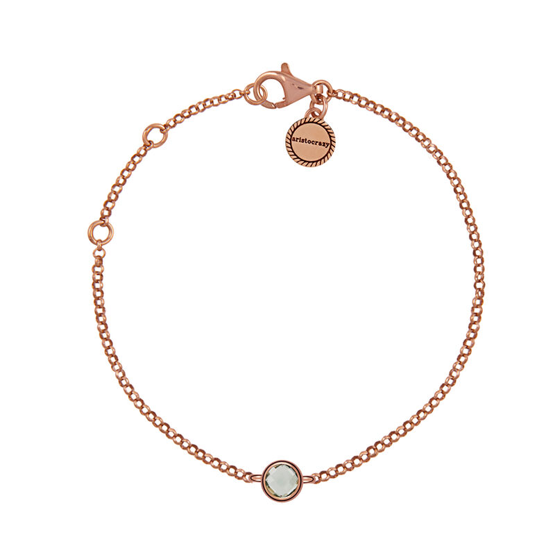 Rose gold plated chaton green quartz bracelet, J00965-03-GQ, hi-res