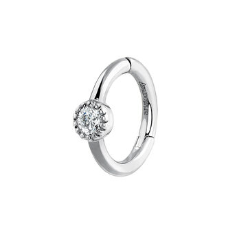 Boucle d'oreille piercing diamant or blanc 0,014 ct, J03909-01-H, hi-res