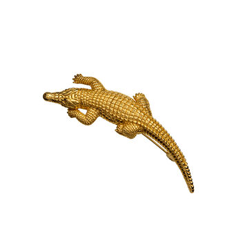 Gold plated crocodile brooch, J00828-02, hi-res