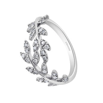 Silver leaves ring with diamonds, J03119-01-GD, hi-res