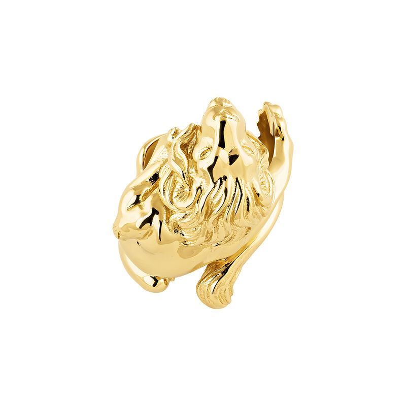 Anillo león plata recubierta oro, J04237-02, hi-res