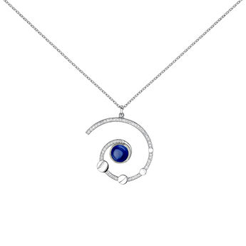 Collier spirale pierre argent, J04014-01-LPS-WT, hi-res