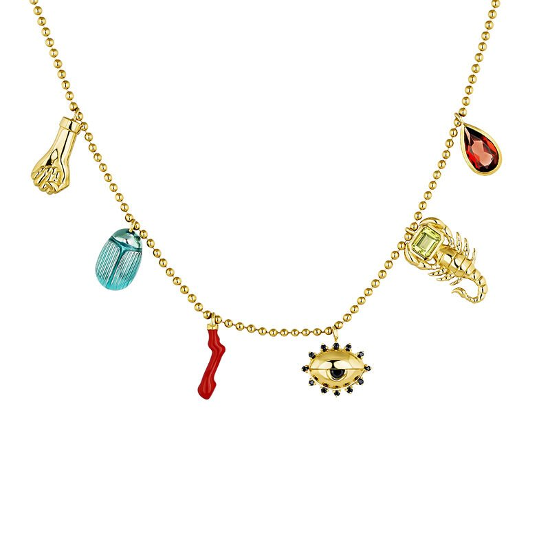 Gold plated statement motifs necklace