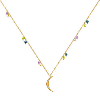 Gold Stone Bohemian Moon Necklace, J03541-02-PEAMLB, hi-res