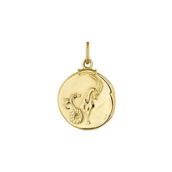 Pendentif capricorne argent plaqué or, J04780-02-CAP, hi-res