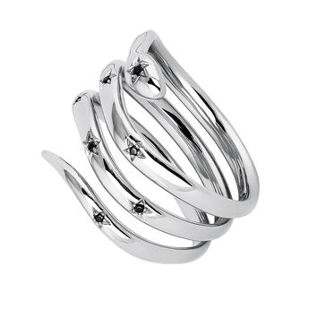 Silver snake ring with spinels, J04196-01-BSN, hi-res