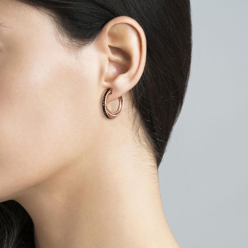 Boucles d'oreilles créoles multiples moyennes argent plaqué or rose, J03664-03-BSN, hi-res
