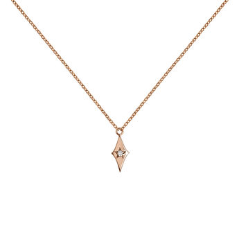 Collier étoile diamant or rose, J03886-03, hi-res