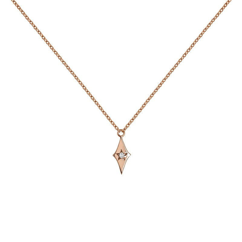 Collier étoile diamant or rose 0,01 ct