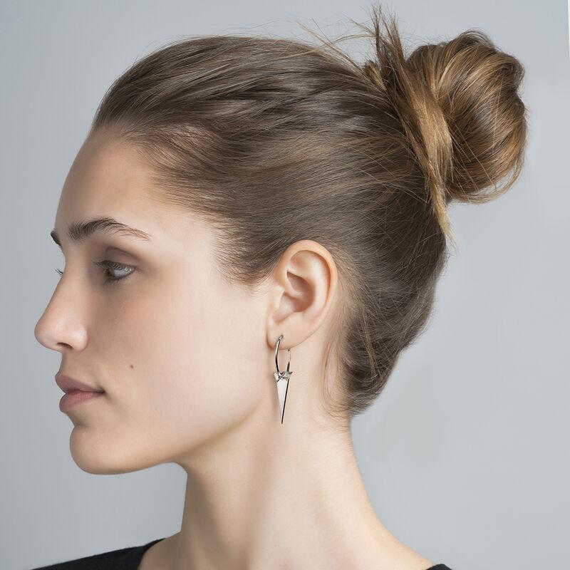 Silver triangle hoop spinel earrings, J03965-01-BSN, hi-res