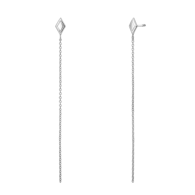 Pendientes rombos cadena plata, J03623-01, hi-res