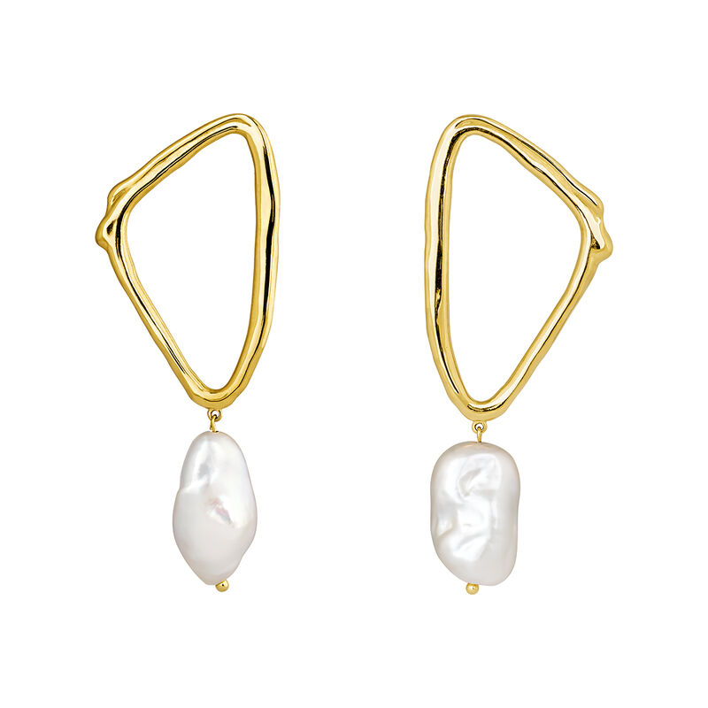 Triangular earrings baroque pearl yellow gold, J04200-02-WP, hi-res