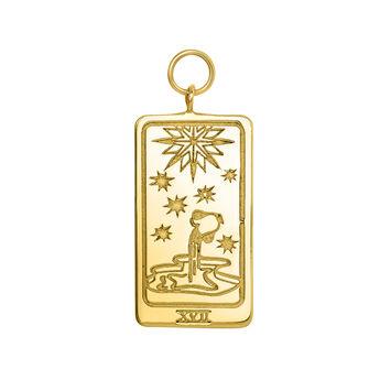 Gold Les Étoiles card pendant, J04042-02, hi-res