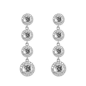 Pendientes roseta colgantes topacios diamantes plata, J01489-01-WT, hi-res