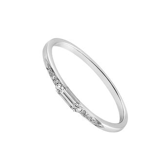 Bague baguette diamant or blanc 0,12 ct, J03341-01, hi-res