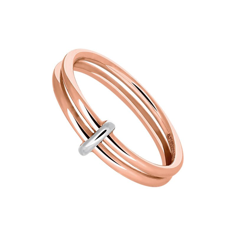 Rose gold silver circle double ring, J03489-05, hi-res