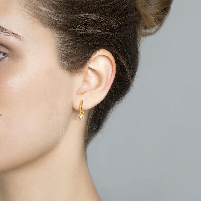 Boucles d'oreilles créoles petites topaze argent plaqué or, J03808-02-WT, hi-res