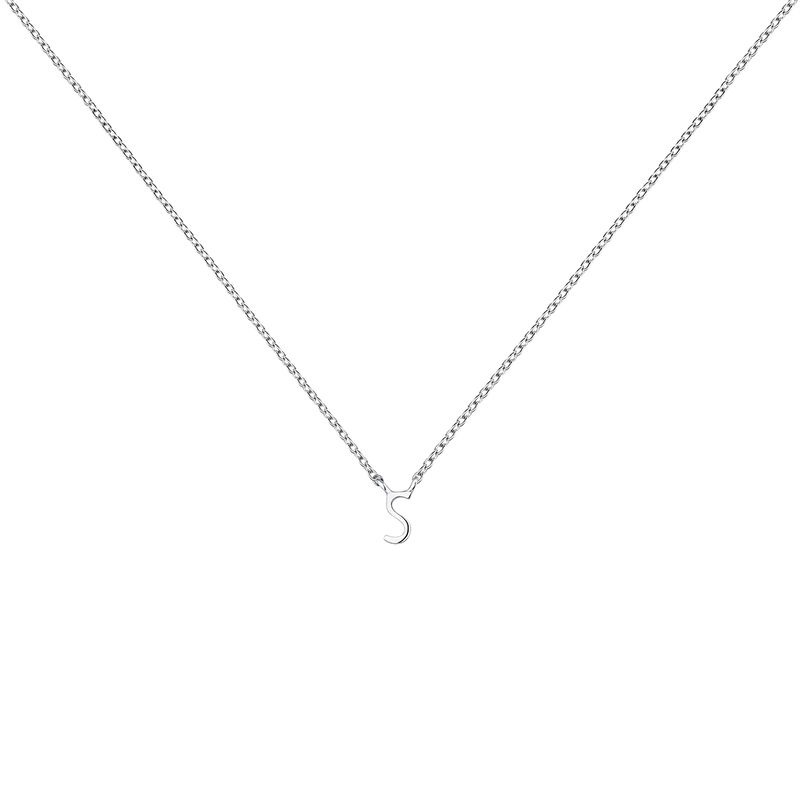 White gold Initial S necklace, J04382-01-S, hi-res