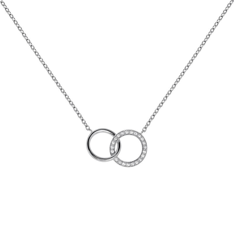 Silver topaz double circle necklace, J03667-01-WT, hi-res