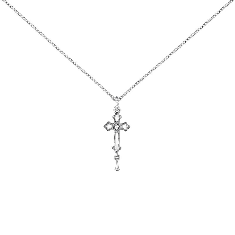 Silver necklace with a medium-sized cross with topazes, J04231-01-WT, hi-res