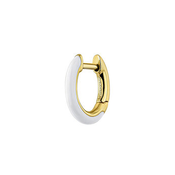 Gold plated silver white enamel earring, J04129-02-WENA-H, hi-res