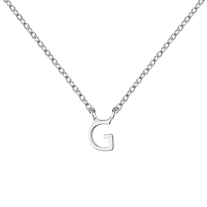 Collier iniciale G or blanc, J04382-01-G, hi-res