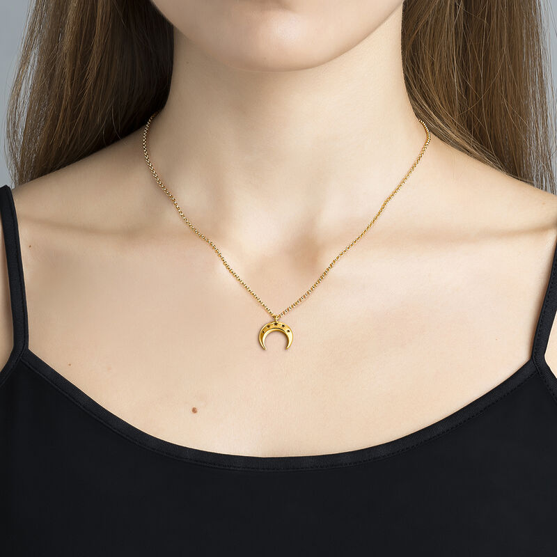 Large gold plated moon necklace, J03460-02, hi-res