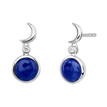 Silver moon gemstone earrings, J03991-01-LPS-WT, hi-res