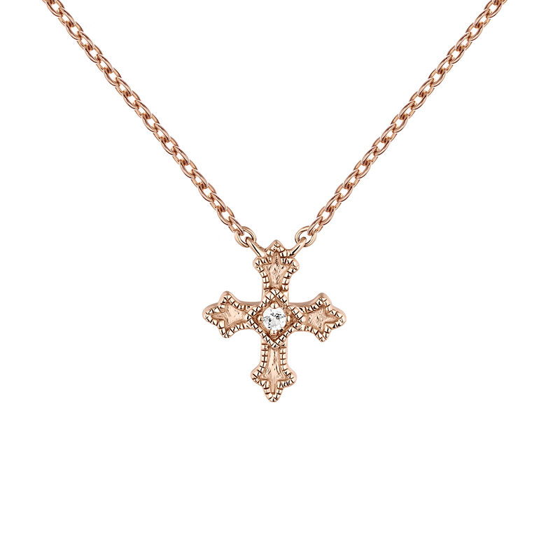 Rose gold plated small-size cross necklace with topaz, J04230-03-WT, hi-res
