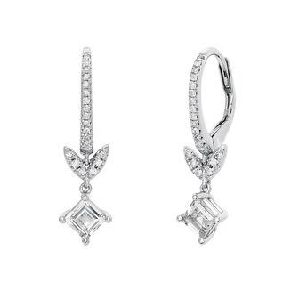 Silver diamond and topaz leaf hoop earrings, J03712-01-WT-GD, hi-res