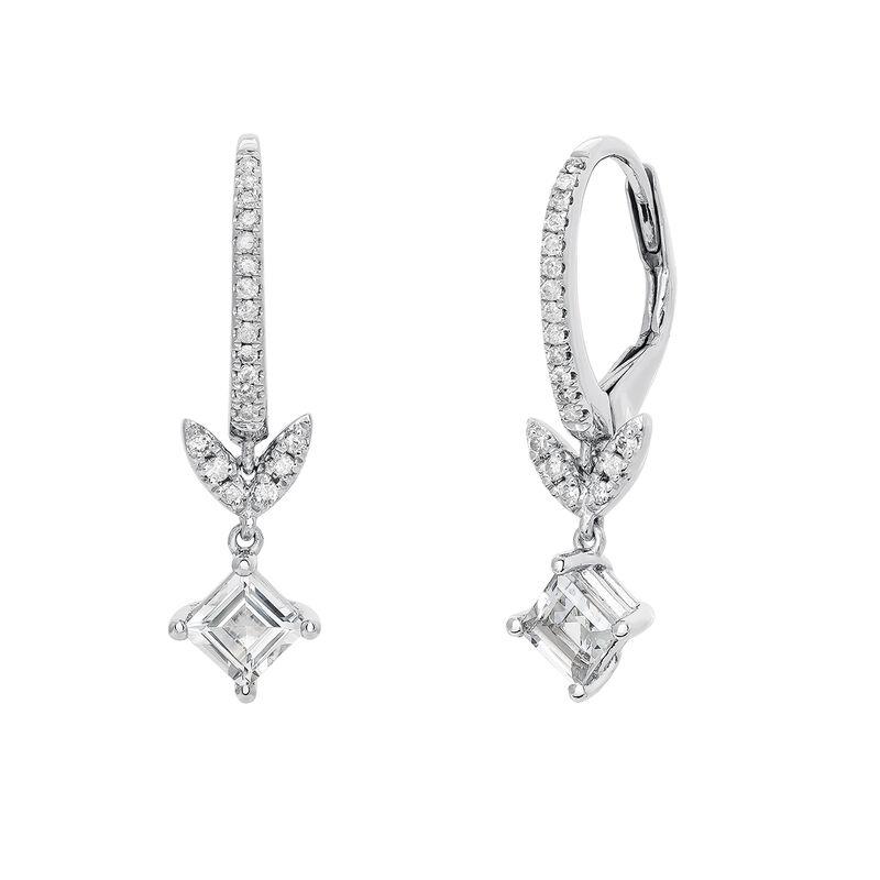 d39bfe82a15f Pendientes de aro hoja topacio y diamante plata