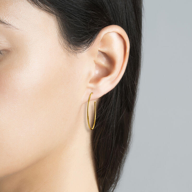 Large thin gold plated hoop earrings, J03520-02, hi-res