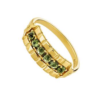 Anillo grande turmalina verde plata recubierta oro, J04274-02-GTU, hi-res