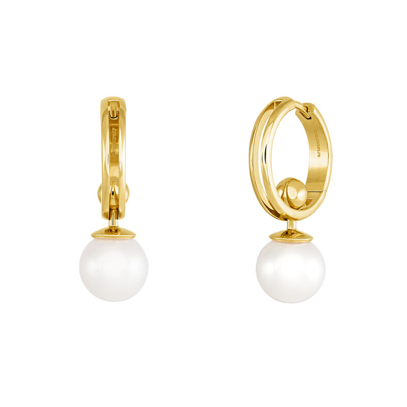 Gold plated pearl hoop earrings, J04017-02-WP, hi-res