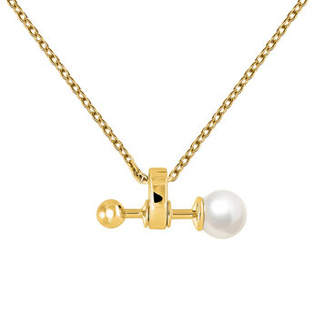 Gold plated pearl pendant, J04025-02-WP, hi-res