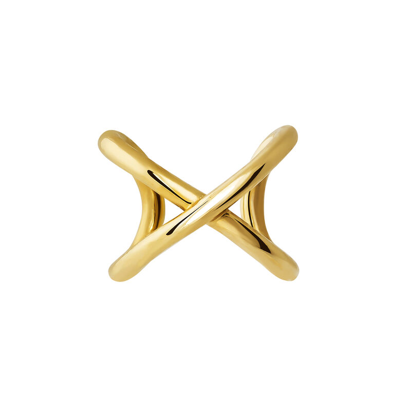 Gold X cartilage earring piercing, J03852-02, hi-res