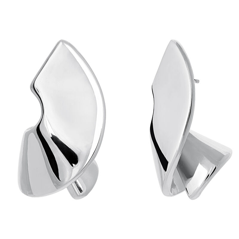 Silver sculptural earrings, J03505-01, hi-res